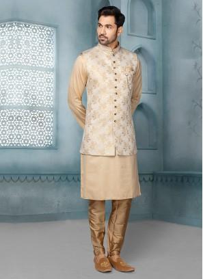 Brocade Silk Nehru Jacket Suit For Wedding