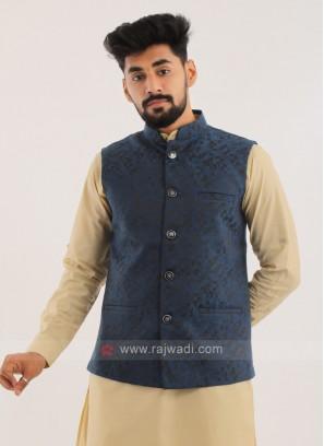Brocade Silk Nehru Jacket In Blue