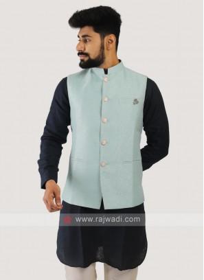 Brocade Silk Nehru Jacket In Firozi