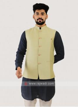 Silk Nehru Jacket In Lime Color