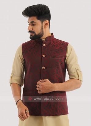 Brocade Silk Nehru Jacket In Maroon