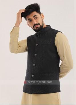 Brocade Silk Nehru Jacket In Navy