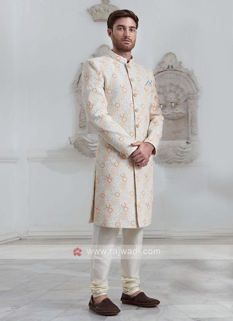 Brocade Silk Off White Indo-Western