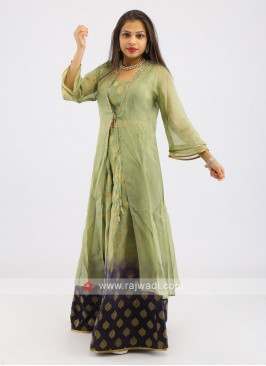 Brocade Silk Palazzo Suit With Shrug