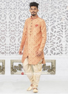 Brocade Silk Peach Color Indo Western