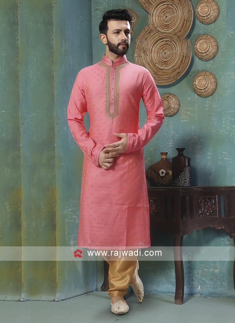 Brocade Silk Pink Kurta Pajama