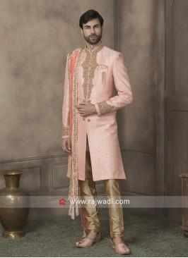 Brocade Silk Pink Sherwani With Dupatta