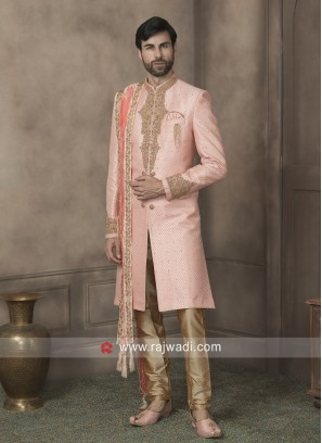 Brocade Silk Pink Sherwani With Dupatta