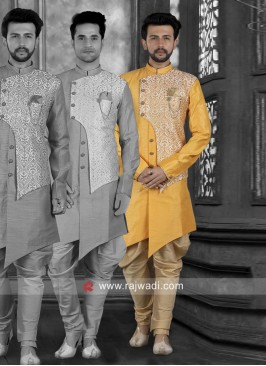 Art Silk Yellow Indo Western For Wedding
