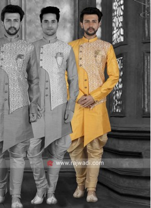 Art Silk Yellow Indo Western For Wedding
