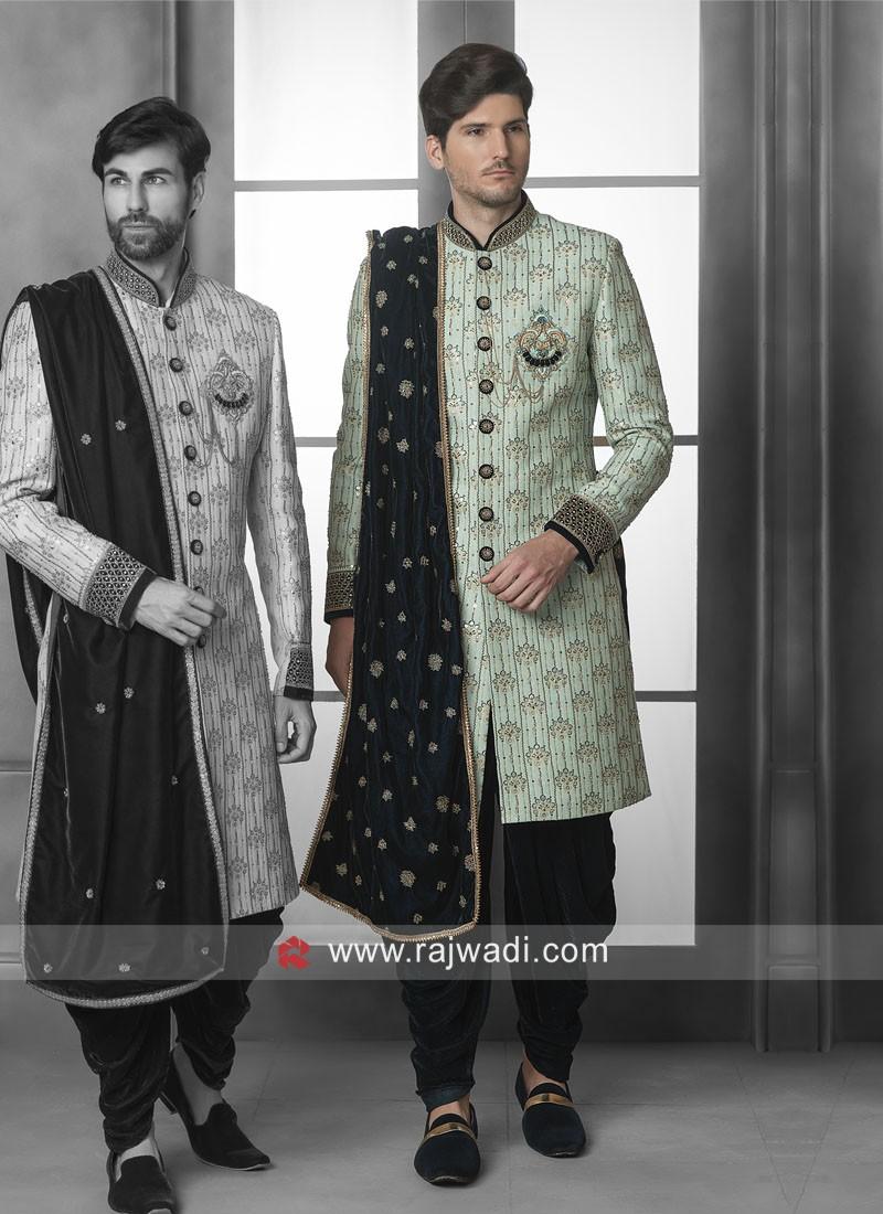 Brocade Silk Sherwani With Velvet Dupatta