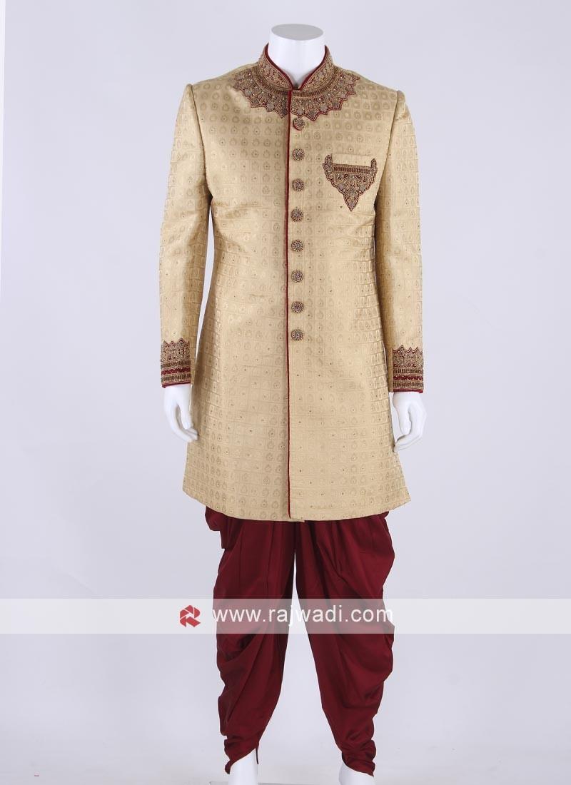 Brocade silk sherwani in golden color