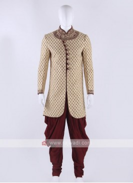 Brocade silk sherwani in golden color