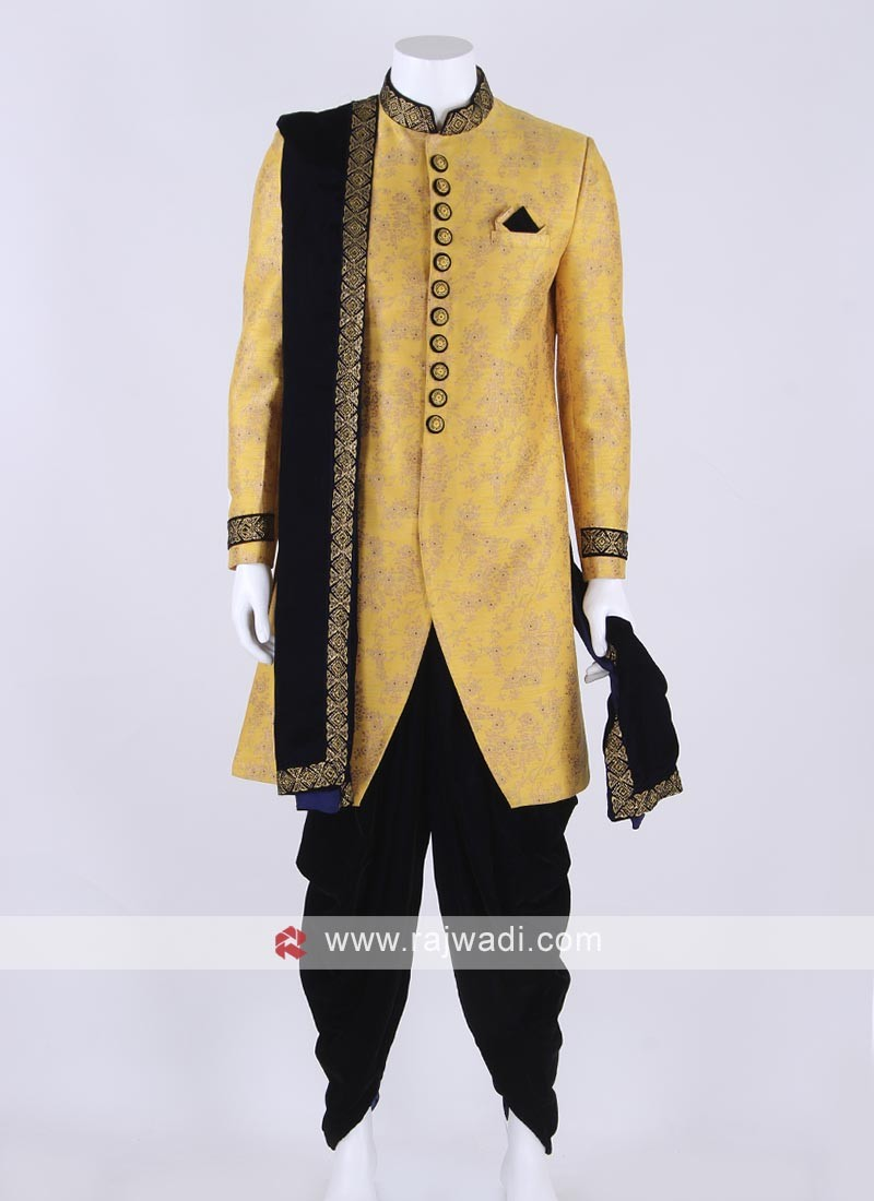 Brocade silk sherwani in mustard yellow