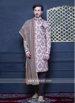 Brocade Silk Light Pink Indo Western