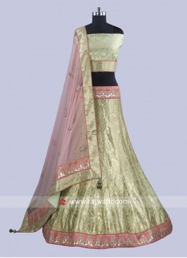 Brocade Silk Unstitched Lehenga Choli