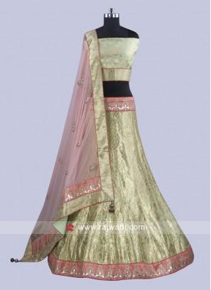 Brocade Silk Unstitched Lehenga Choli