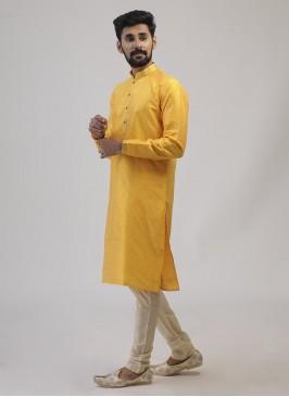Brocade Silk Yellow Color Kurta Pajama