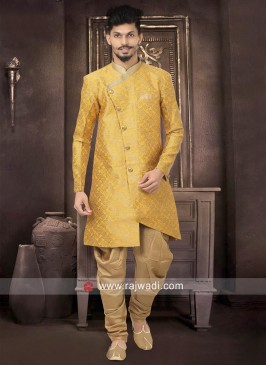 Brocade Silk Yellow Indo Western