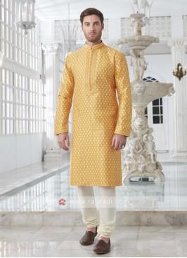 Brocade Silk Yellow Kurta Pajama