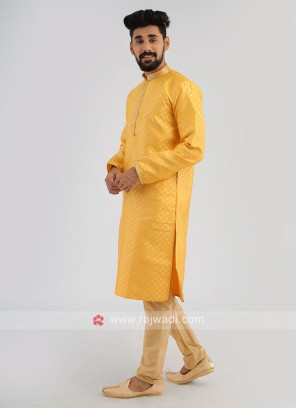 Brocade Silk Yellow Kurta Pajama Set