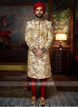 Silk Zardozi Work Sherwani For Wedding