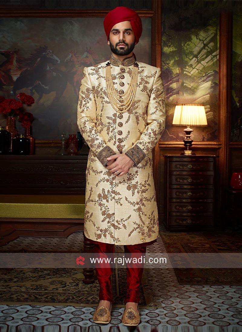 Silk Zardozi Work Sherwani For Wedding