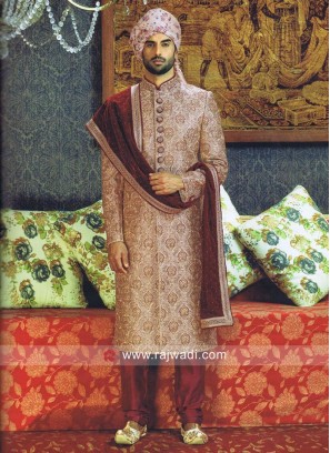 Brocade Silk Zardozi Work Sherwani With Maroon Stole
