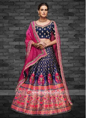 Brocade Weaved Lehenga in Navy Blue