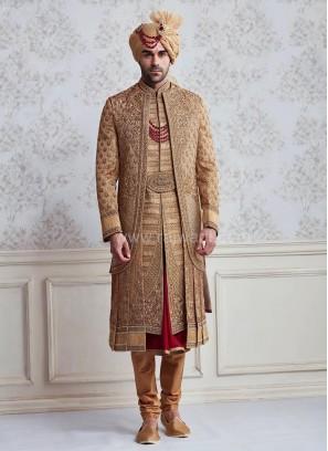 Brocade Wedding Anarkali Style Sherwani