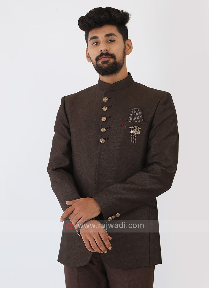 Brown Imported Silk Jodhpuri Suit