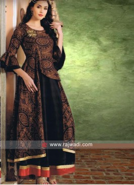 Brown and Black Short long Printed Kurti