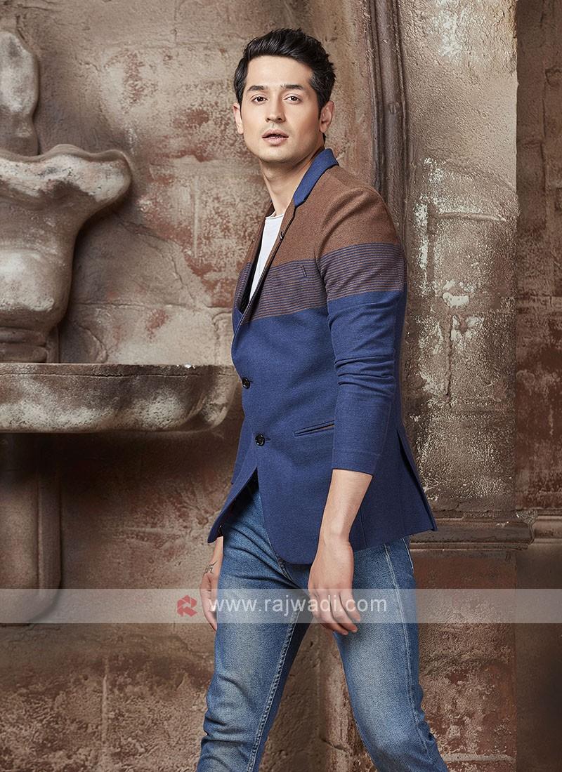 brown and blue blazer