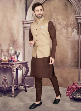 Brown And Cream Color Nehru Jacket Suit
