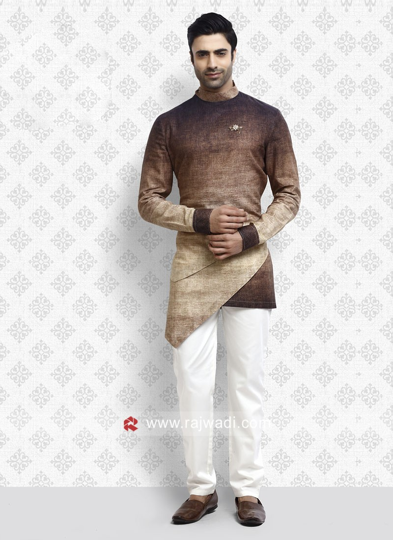 Brown and Cream Shaded Pathani Suit