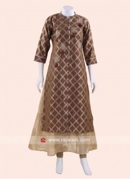 Brown and Cream Silk Kurti