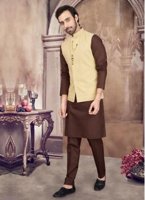 Brown And Golden Color Nehru Jacket Set