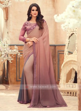 Brown And Grey shaded Chiffon Saree