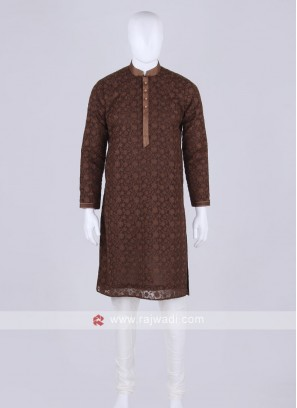 brown and off white kurta pajama