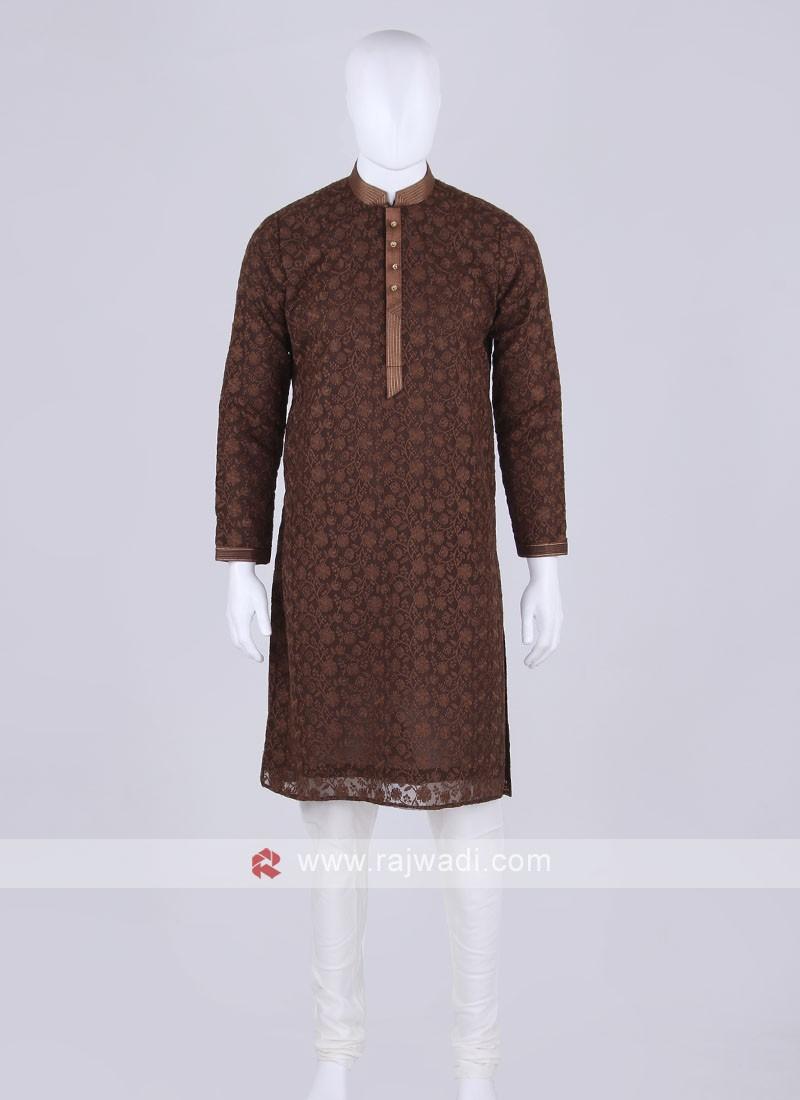 brown and off white kurta pajama