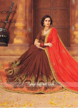 Brown and Orange Two Tone Saree