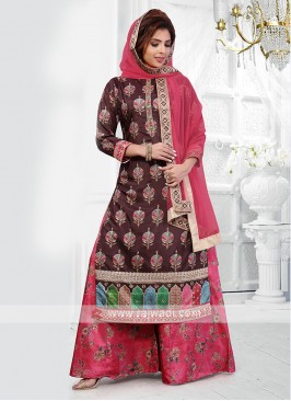 brown and pink color palazzo suit