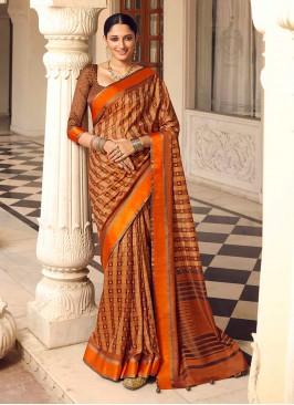 Brown And Rust Color Art Dola Silk Saree