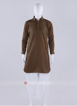 Brown And White Solid Pathani Suit