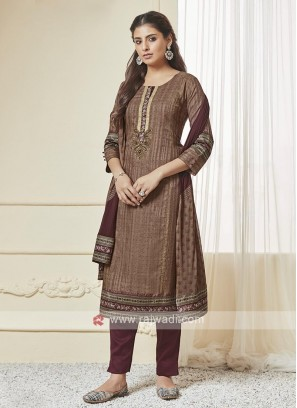 Brown And Wine Color Pant Style Suit