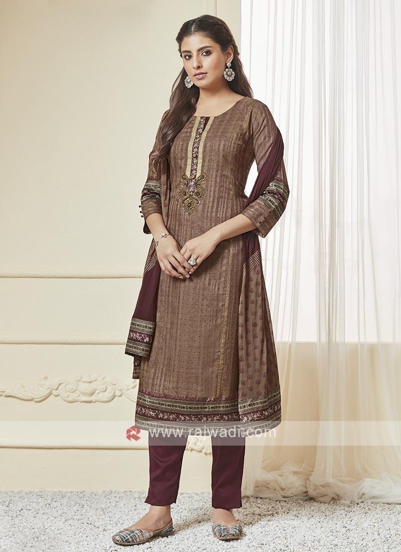 Shagufta Brown And Wine Color Pant Salwar Suit