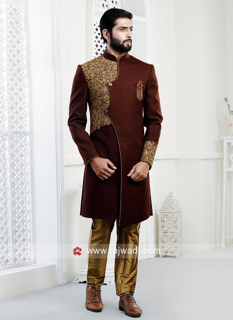 Brown Art Silk Fabric Indo Western