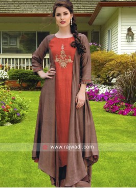 Brown Asymmetrical Long Kurti
