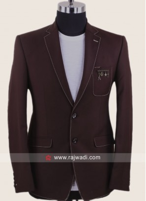 Brown Blazer With Fancy Broach