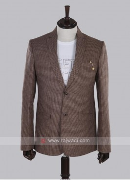 brown checks linen blazer